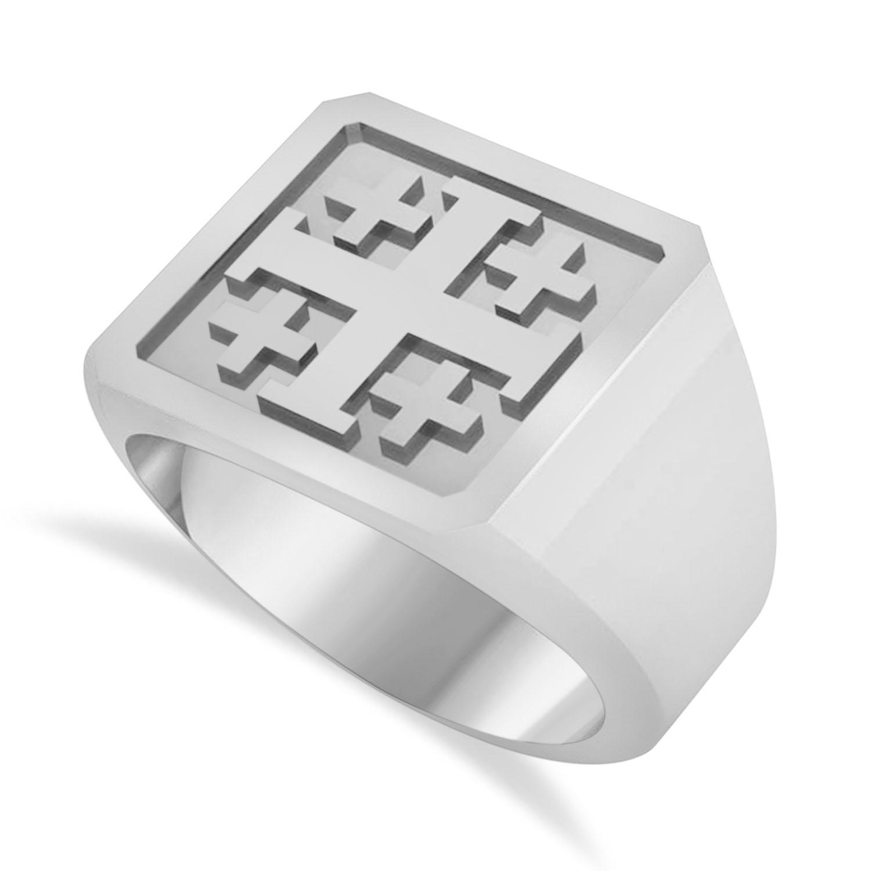 Men's Jerusalem Cross Signet Ring 14k White Gold