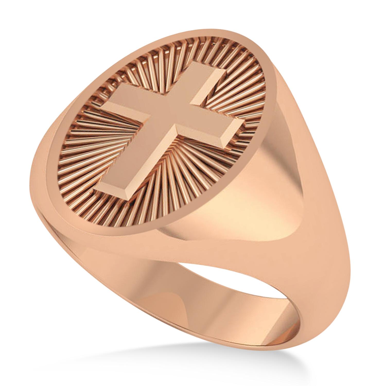 Men's Holy Cross Fashion Signet Ring 14k Rose Gold