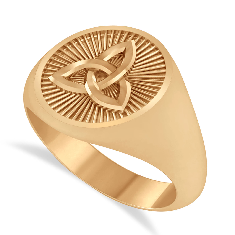 Men's Celtic Knot Signet Ring in 14k Rose Gold