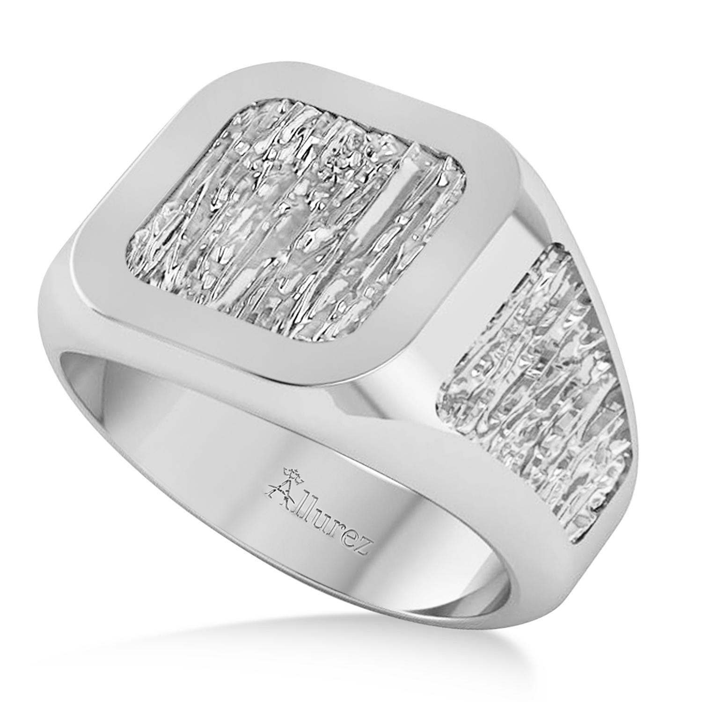 Men's Textured Detail Fashion Signet Ring 14k White Gold