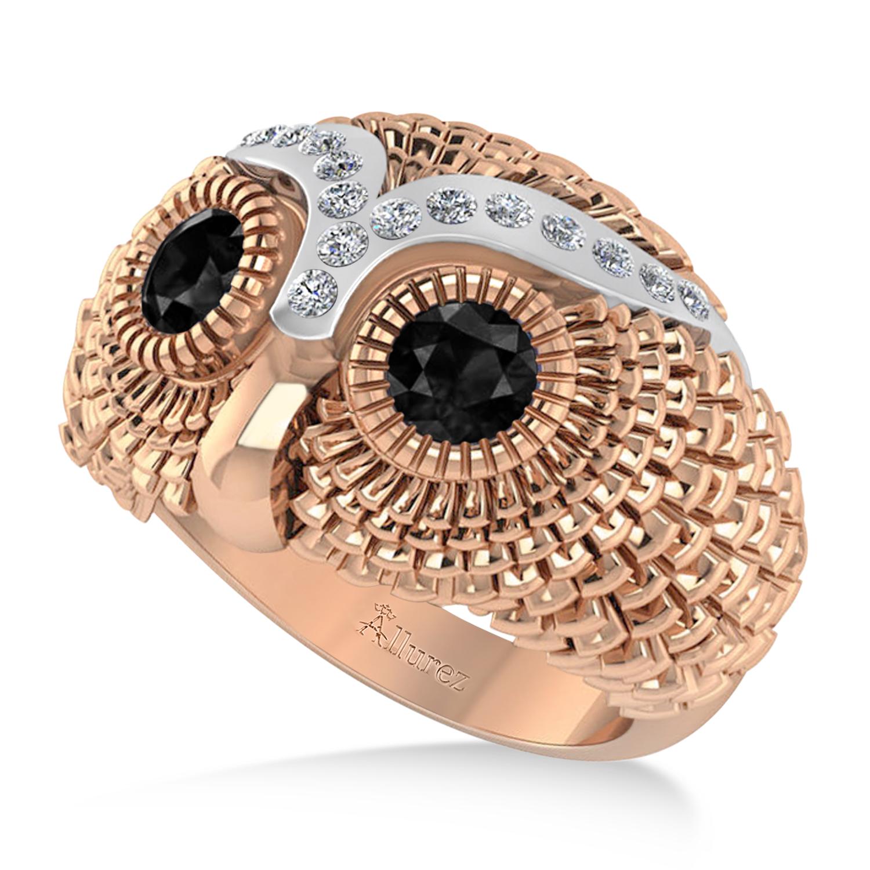Men's Owl Diamond & Black Diamond Fashion Ring 14k Rose Gold (0.74ct)