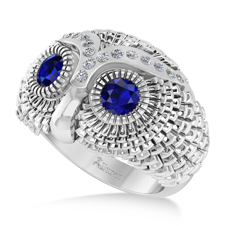 Men's Owl Diamond & Blue Sapphire Accented Fashion Ring 14k White Gold (0.74ct)