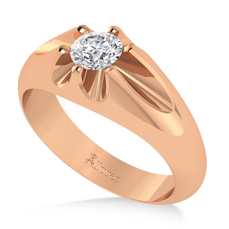 Men's Solitaire Diamond Ring 14k Rose Gold (0.50ct)