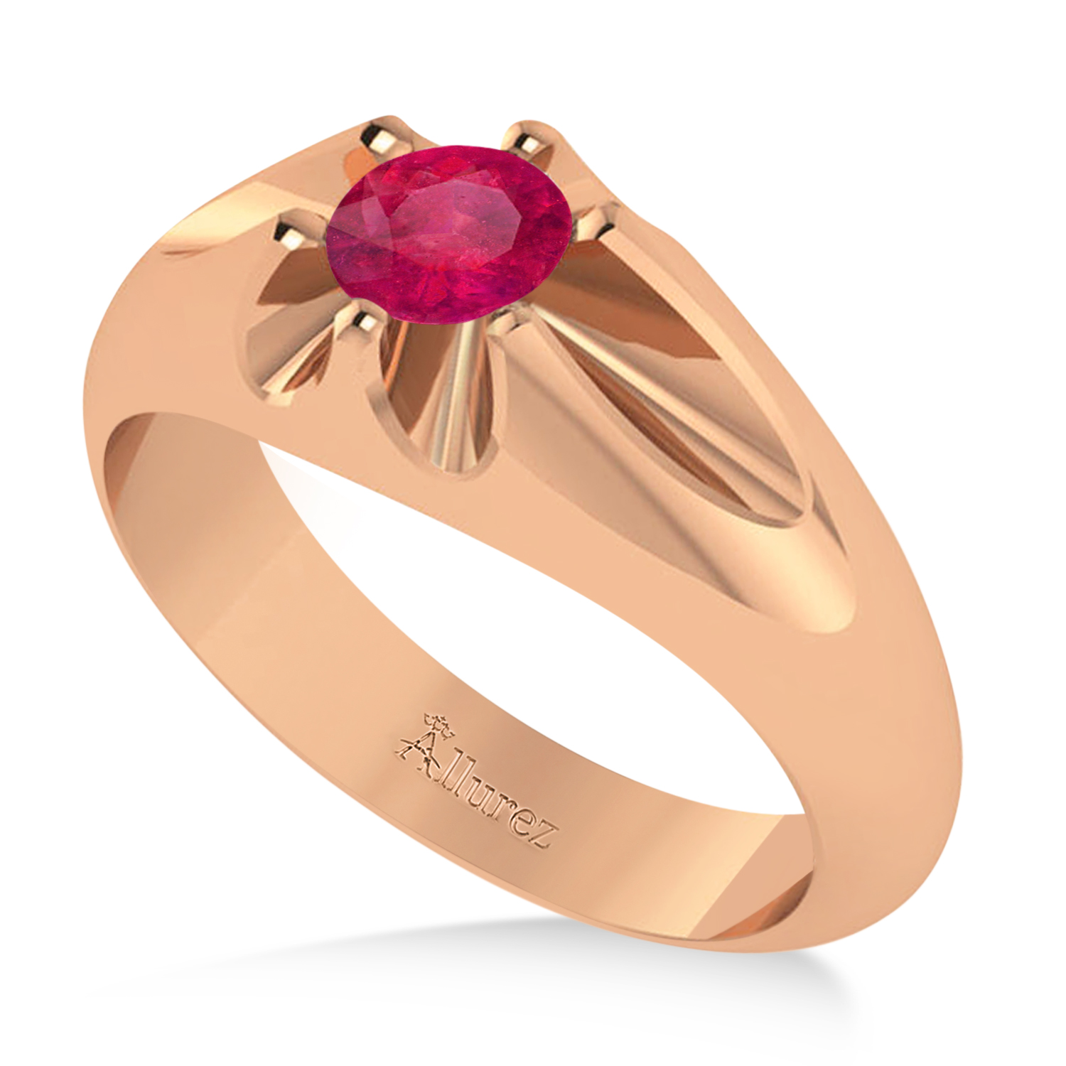 Men's Solitaire Ruby Ring 14k Rose Gold (0.50ct)