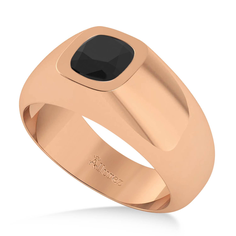 Men's Black Diamond Gypsy Ring 14k Rose Gold (1.00ct)