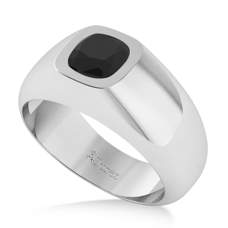 Men's Black Diamond Gypsy Ring 14k White Gold (1.00ct)