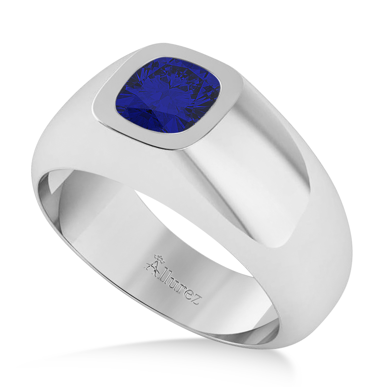 Men's Blue Sapphire Gypsy Ring 14k White Gold (1.00ct)