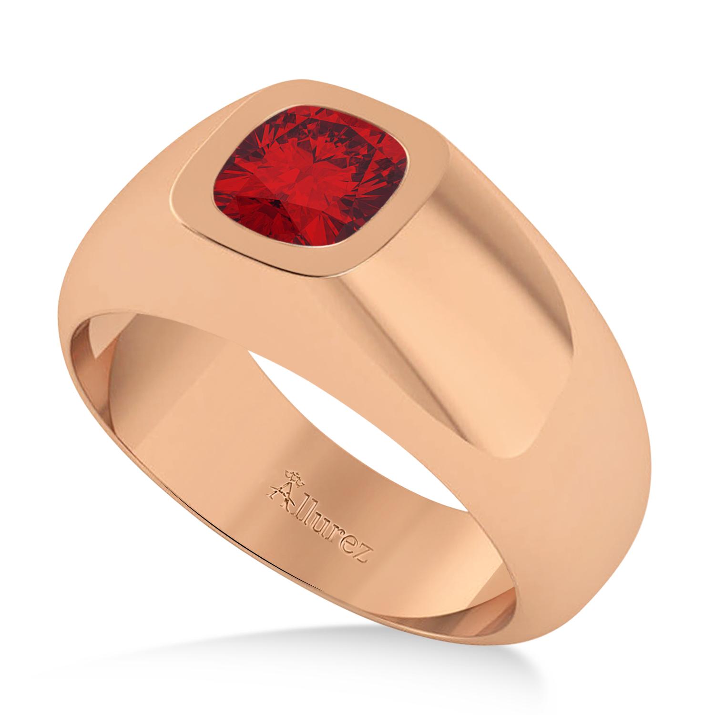 Men's Ruby Gypsy Ring 14k Rose Gold (1.00ct)