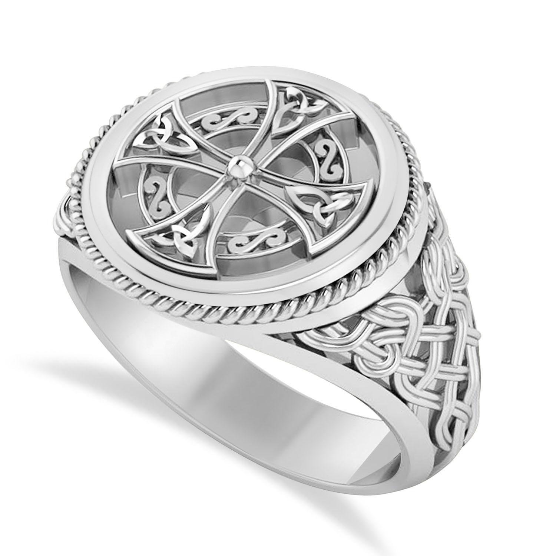 Men's Celtic Cross Signet Ring 14k White Gold