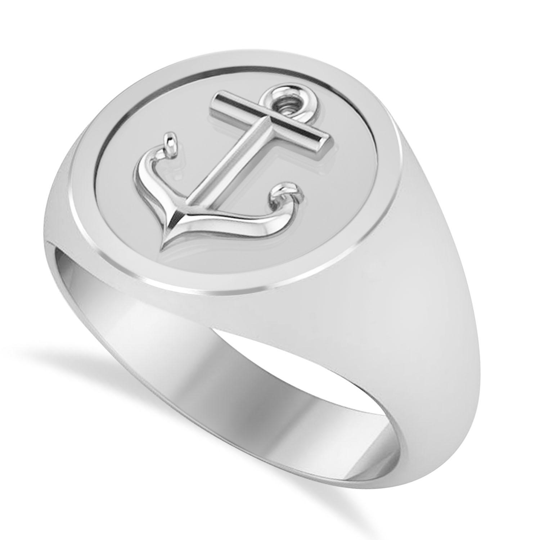 Men's Anchor Signet Ring 14k White Gold
