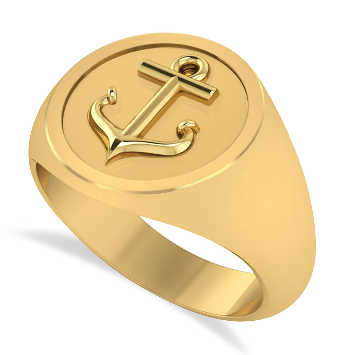 Men's Anchor Signet Ring 14k Yellow Gold