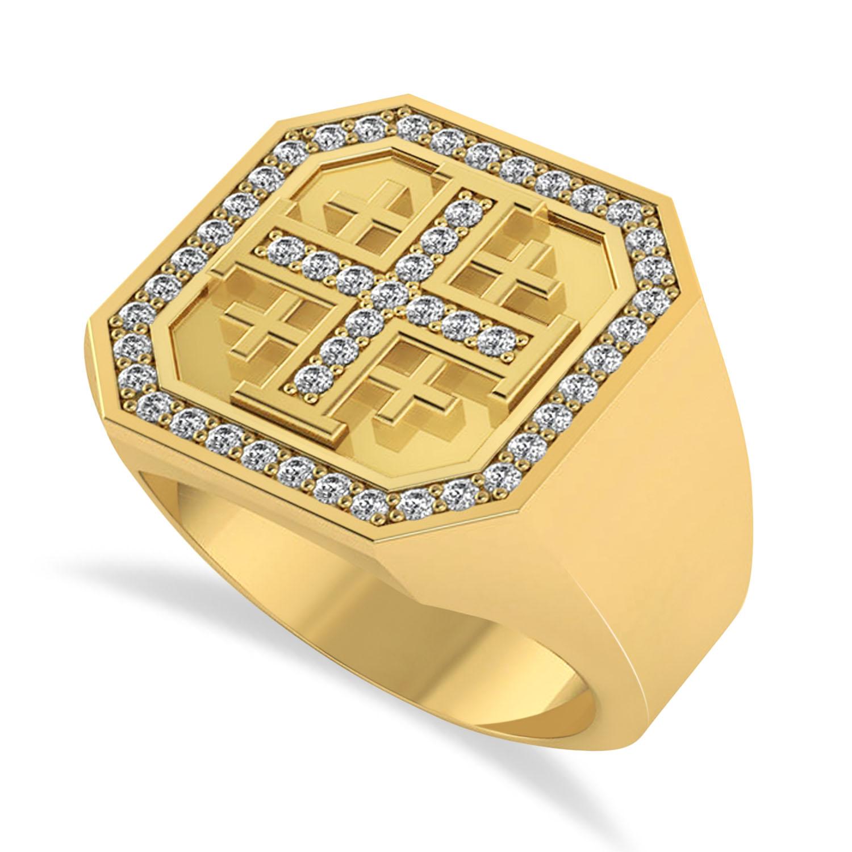 Men's Diamond Accent Jerusalem Cross Signet Ring 14k Yellow Gold (0.49 ctw)