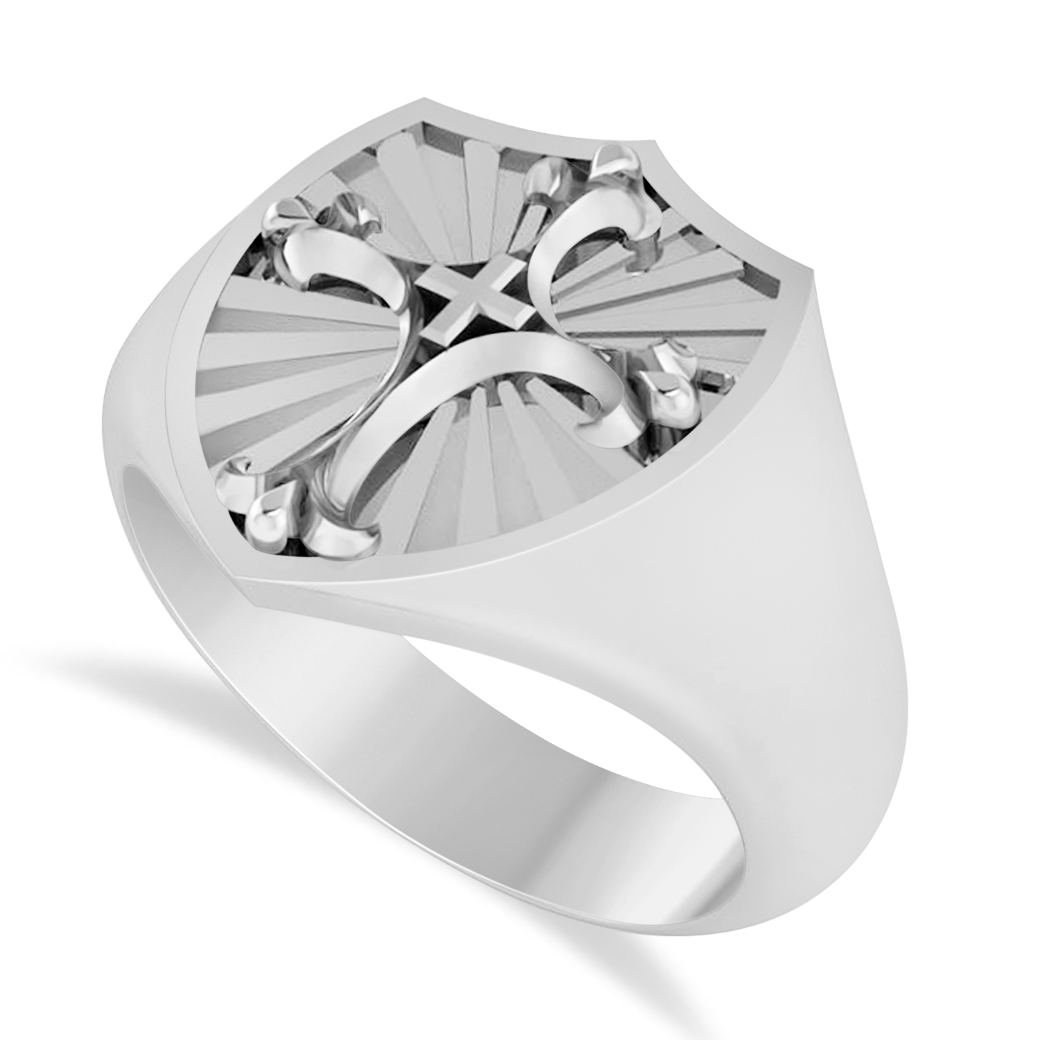 Men's Antique Style Cross Signet Ring 14k White Gold