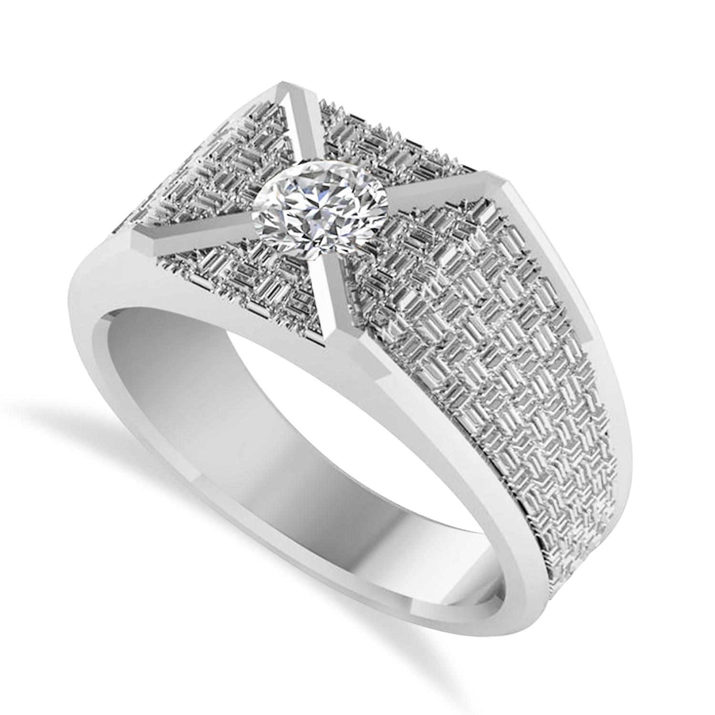 Men's Textured Diamond Fashion Ring 14k White Gold (0.50 ctw)