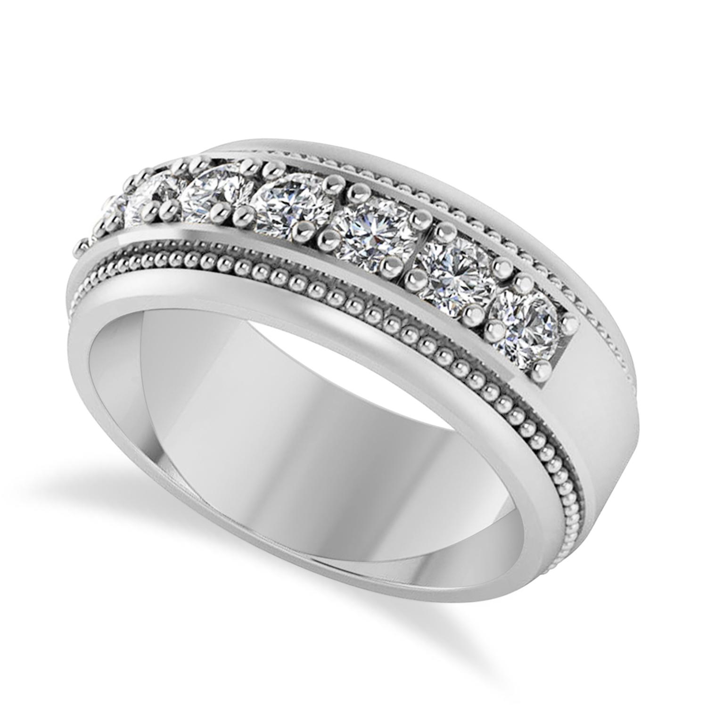 Men's Seven-Stone Diamond Milgrain Ring 14k White Gold (1.05 ctw)