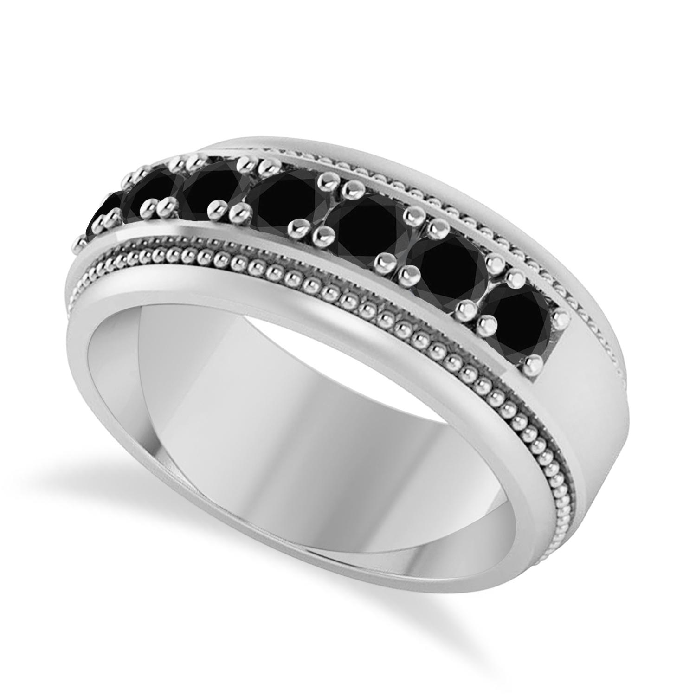 Men's Seven-Stone Black Diamond Milgrain Ring 14k White Gold (1.05 ctw)