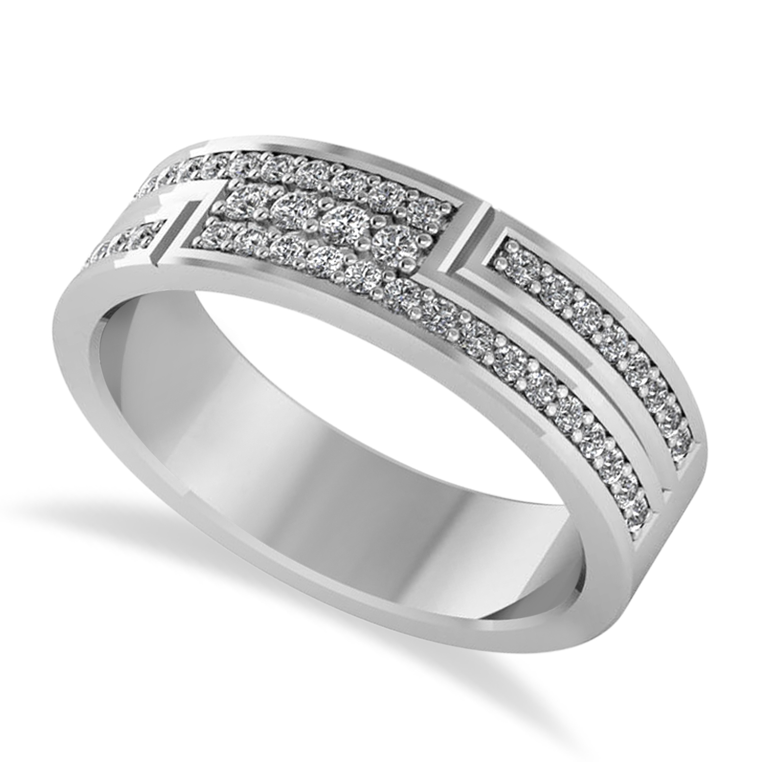 Diamond Strand Men's Ring/Wedding Band 14k White Gold (0.54ct)