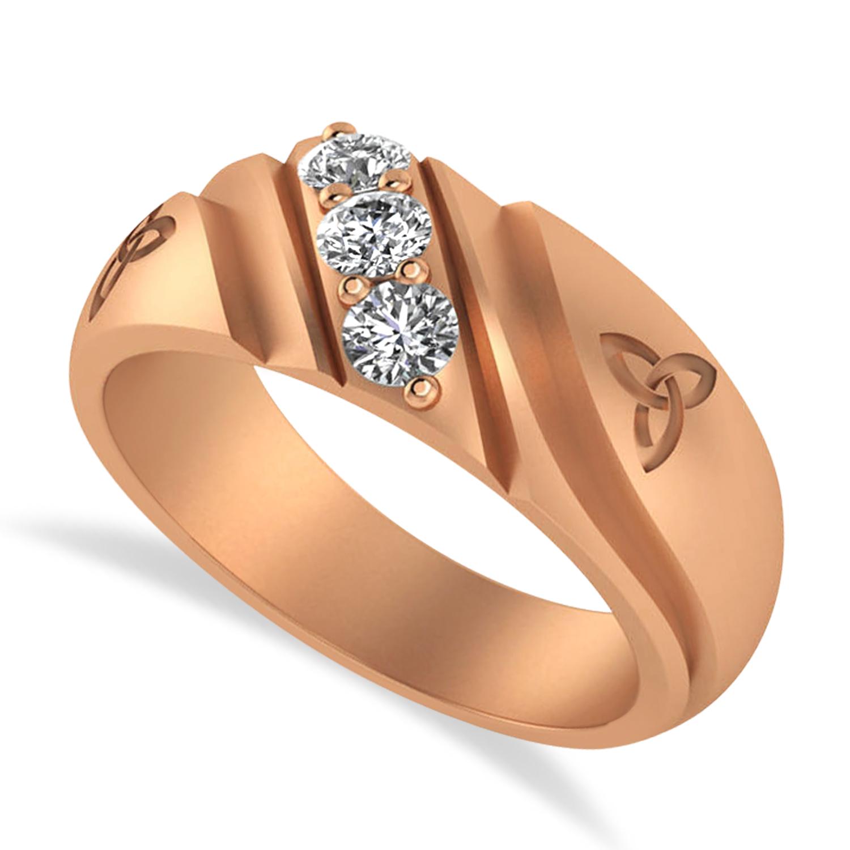 Diamond Celtic Men's Ring/Wedding Band 14k Rose Gold (0.30ct)
