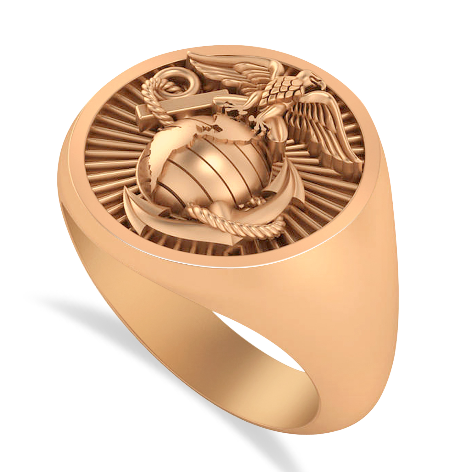 United States Marine Corps Men's Signet Fashion Ring 14k Rose Gold