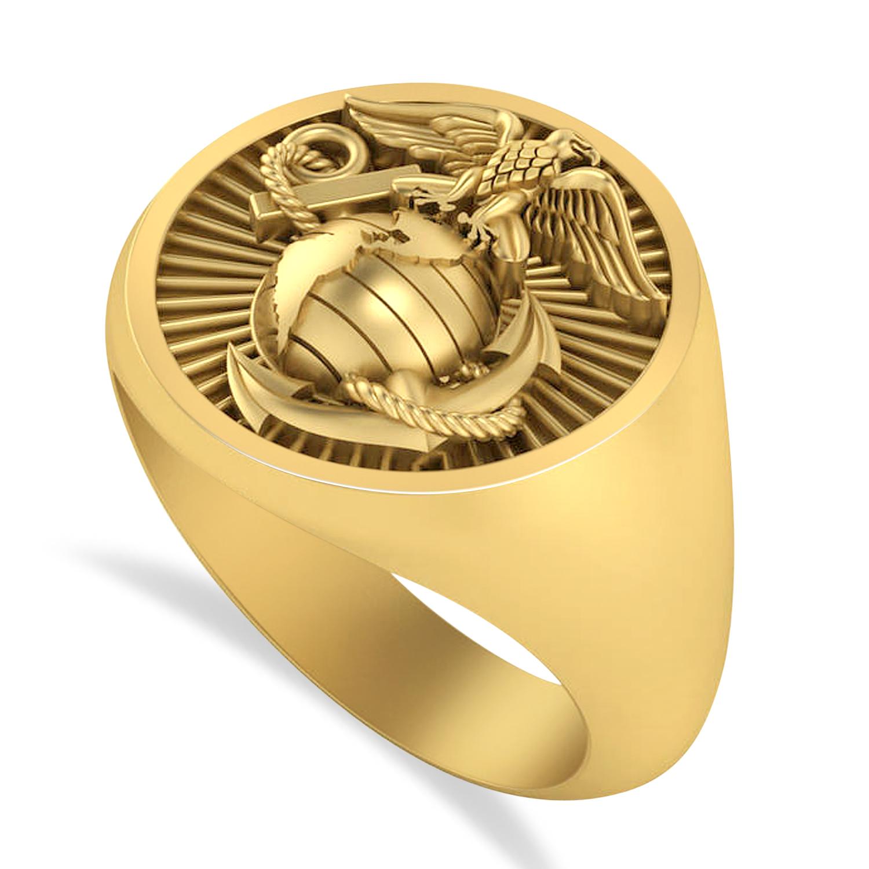 United States Marine Corps Men's Signet Fashion Ring 14k Yellow Gold