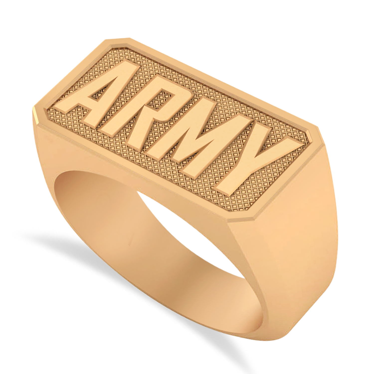 United States Army Men's Signet Fashion Ring 14k Rose Gold