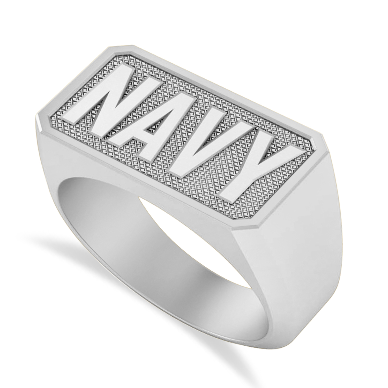 United States Navy Men's Signet Fashion Ring 14k White Gold