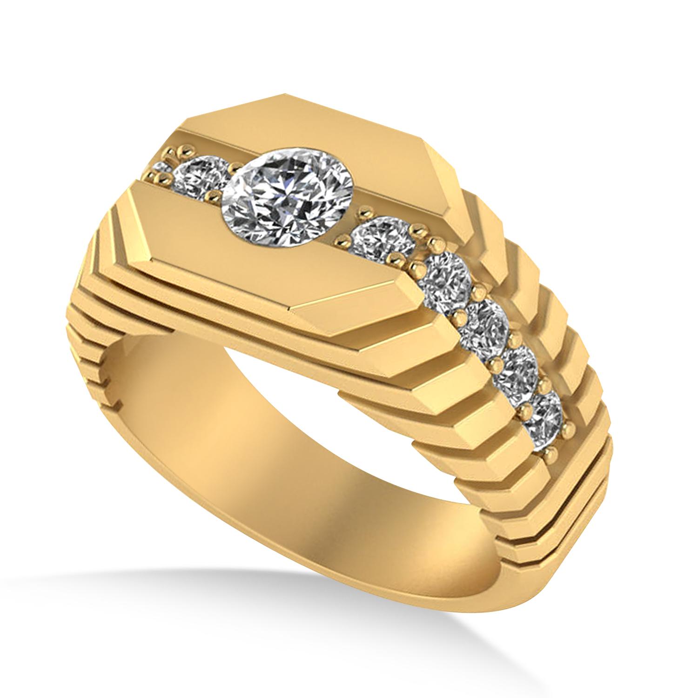 Diamond Chest Men's Ring/Wedding Band 14k Yellow Gold (1.20ct)