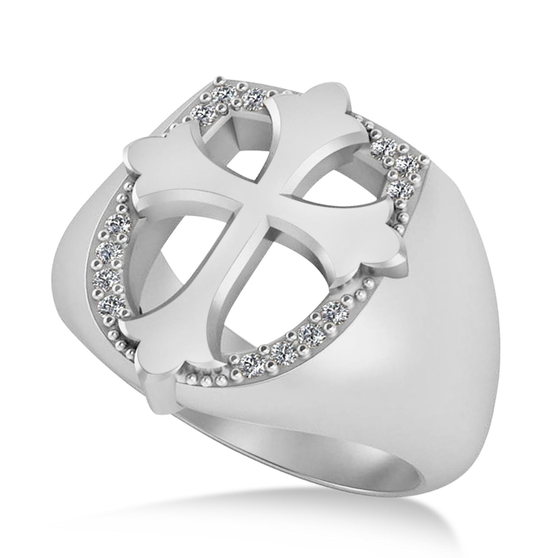 Diamond Cross Cigar Men's Ring 14k White Gold (0.14ct)