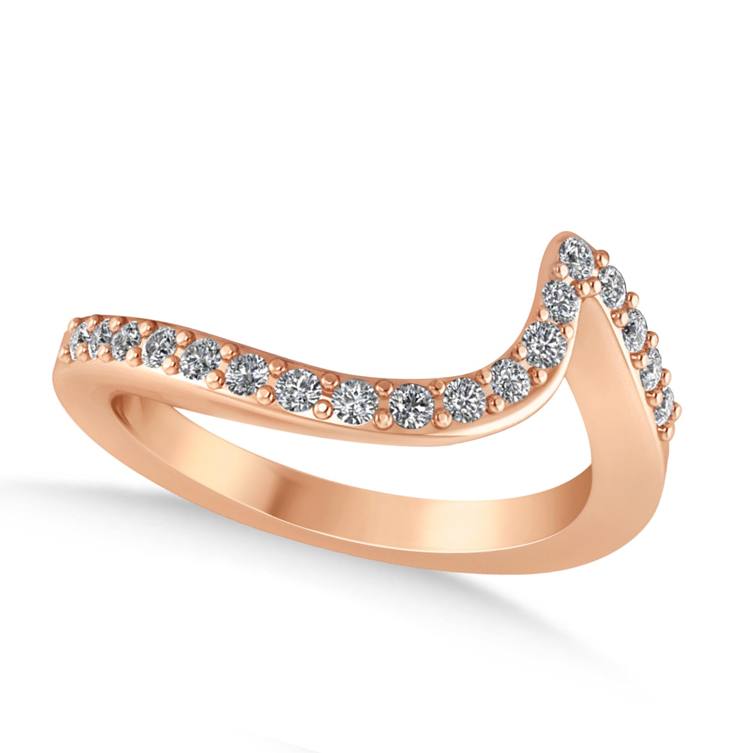 Diamond Accented Tension Set Wedding Band 18k Rose Gold (0.18ct)