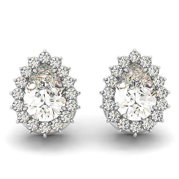 Pear Cut Diamond Teardrop Halo Stud Earrings 14k White Gold (1.05ct)