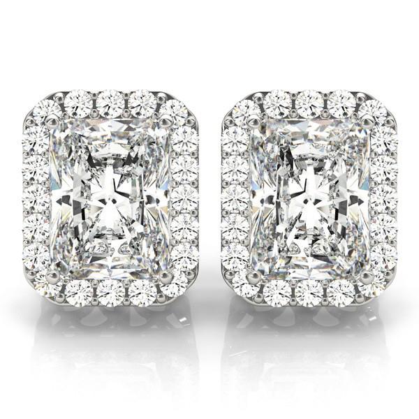 Emerald Cut Diamond Halo Earrings 14k White Gold (2.42ct)