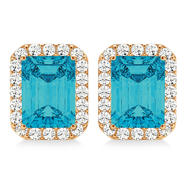 Emerald Cut Blue & White Diamond Halo Earrings 14k Rose Gold (2.42ct)