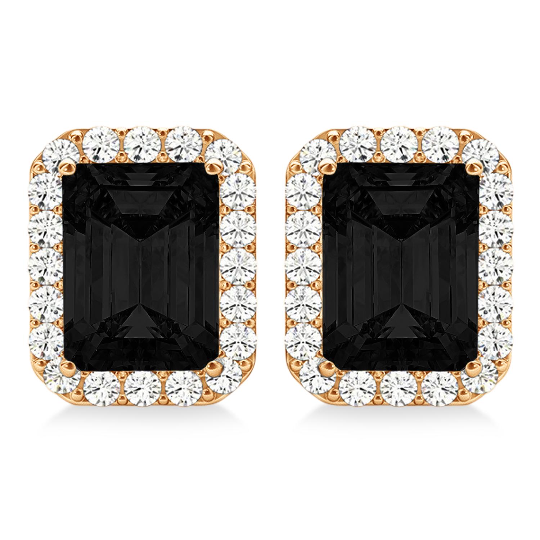 Emerald Cut Black & White Diamond Halo Earrings 14k Rose Gold (2.42ct)