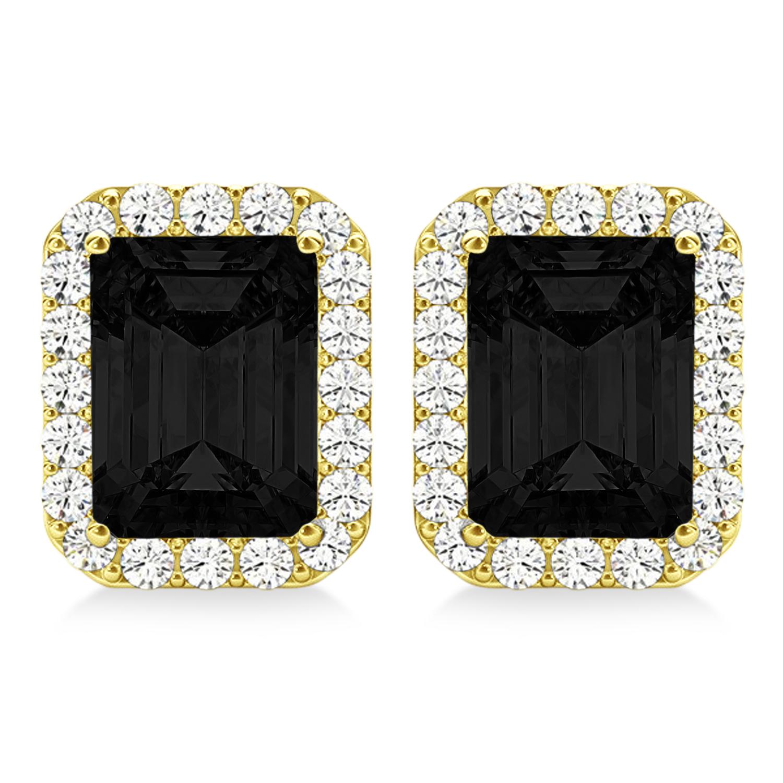 Emerald Cut Black & White Diamond Halo Earrings 14k Yellow Gold (2.42ct)