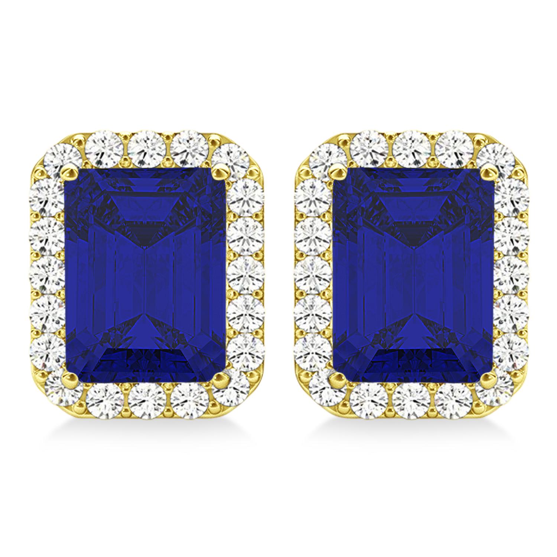 Emerald Cut Blue Sapphire & Diamond Halo Earrings 14k Yellow Gold (2.60ct)