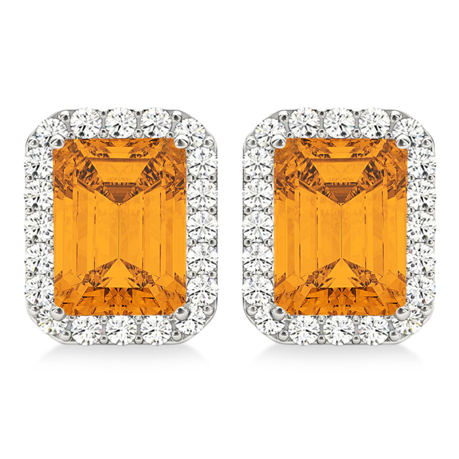 Details about  /3.45 RD Cut Halo Classic Designer Stud Natural Citrine Earrings 14k Yellow Gold