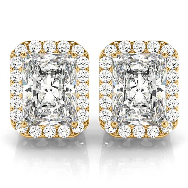 Emerald Cut Moissanite & Diamond Halo Earrings 14k Yellow Gold (2.42ct)