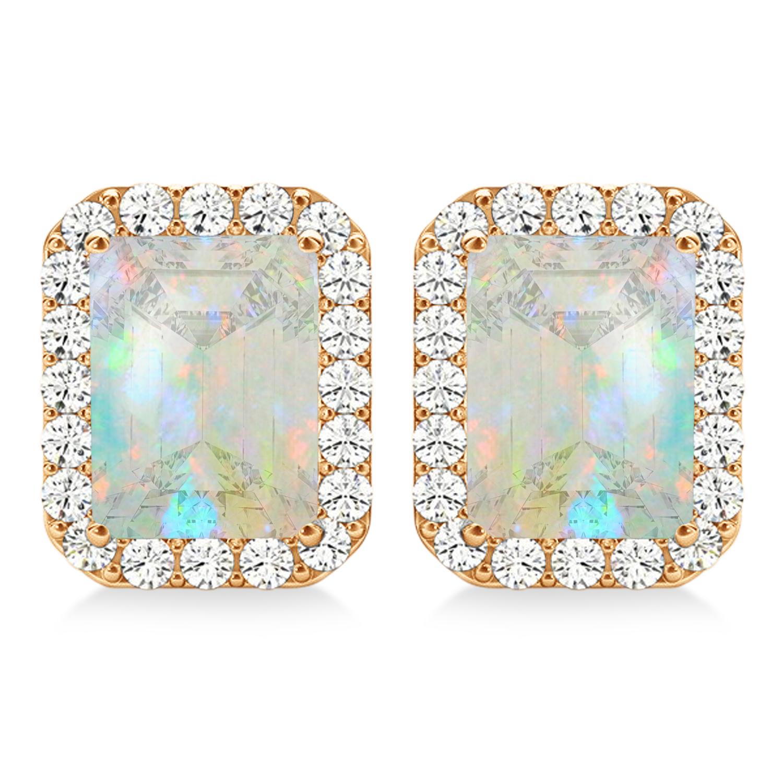 Emerald Cut Opal & Diamond Halo Earrings 14k Rose Gold (1.50ct)