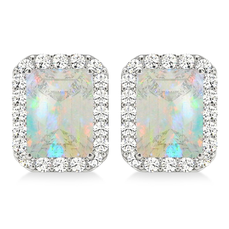Emerald Cut Opal & Diamond Halo Earrings 14k White Gold (1.50ct)