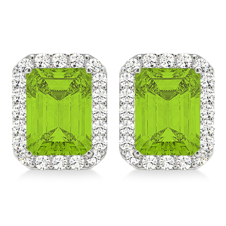 Emerald Cut Peridot & Diamond Halo Earrings 14k White Gold (2.30ct)