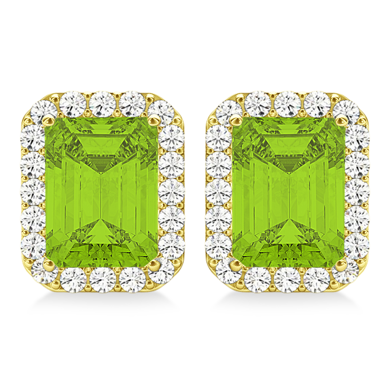 Emerald Cut Peridot & Diamond Halo Earrings 14k Yellow Gold (2.30ct)