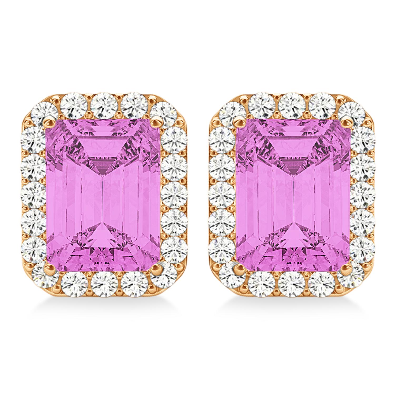 Emerald Cut Pink Sapphire & Diamond Halo Earrings 14k Rose Gold (2.60ct)
