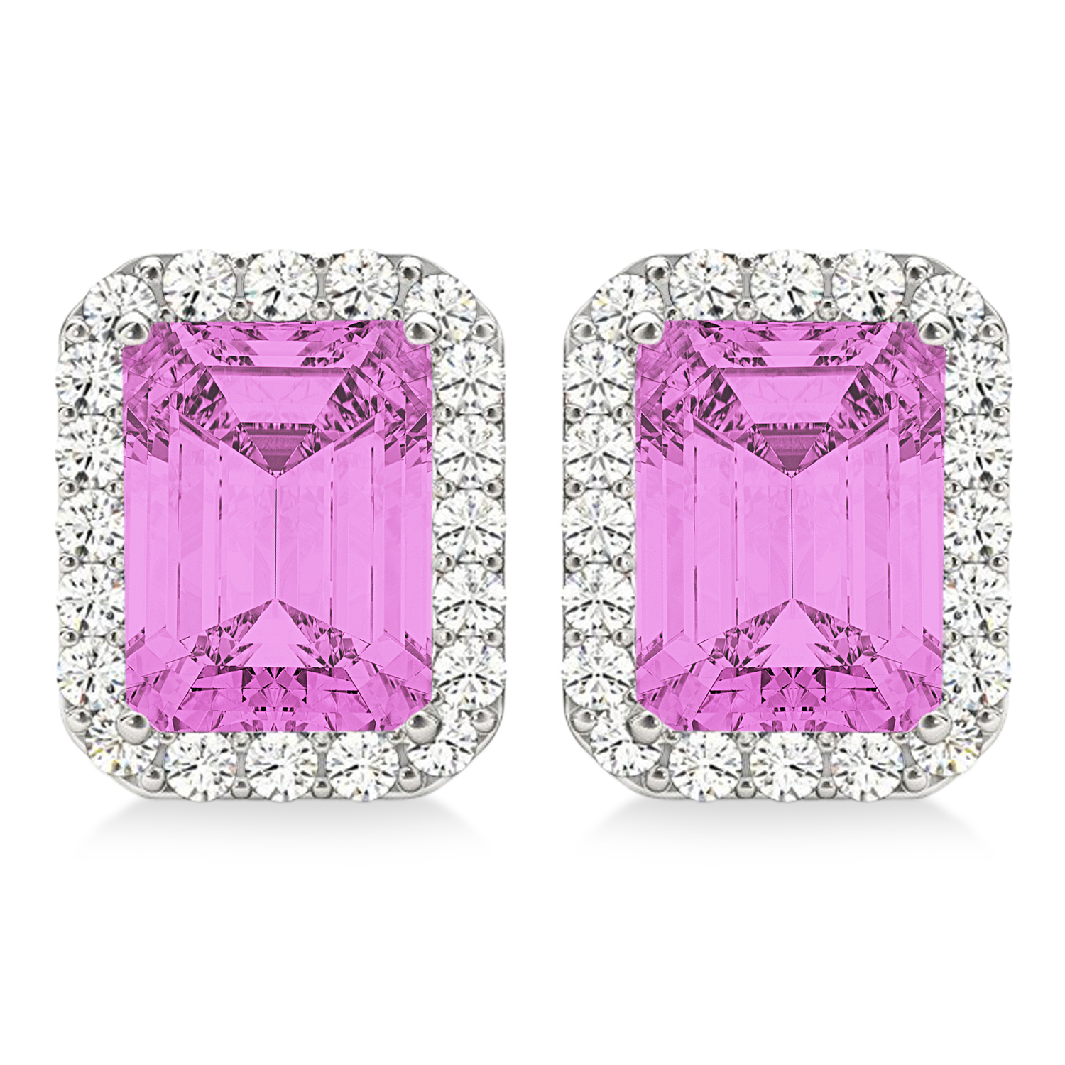 Emerald Cut Pink Sapphire & Diamond Halo Earrings 14k White Gold (2.60ct)