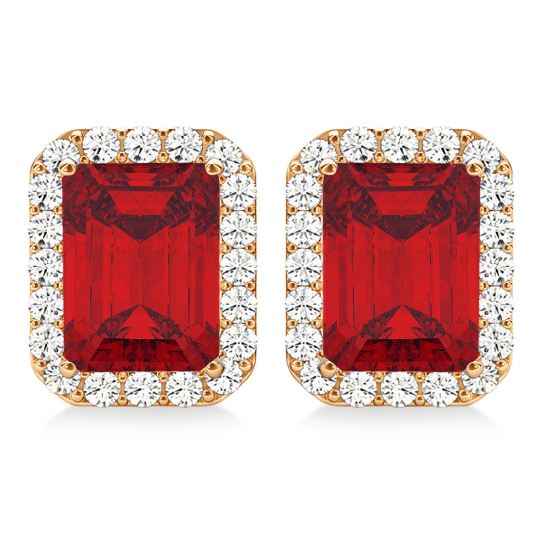 Emerald Cut Ruby & Diamond Halo Earrings 14k Rose Gold (2.60ct)