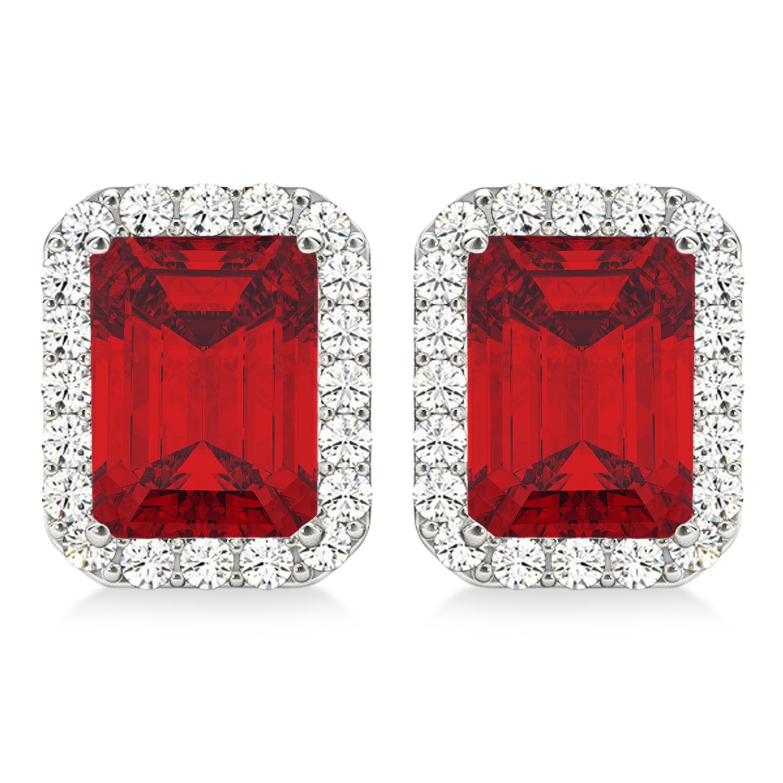 Emerald Cut Ruby & Diamond Halo Earrings 14k White Gold (2.60ct)