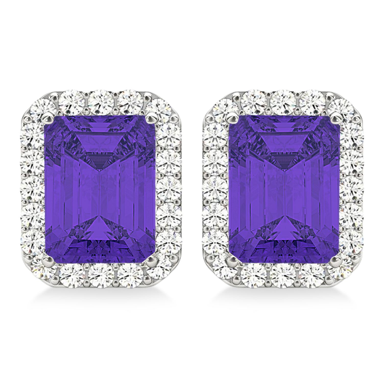 Emerald Cut Tanzanite & Diamond Halo Earrings 14k White Gold (2.60ct)