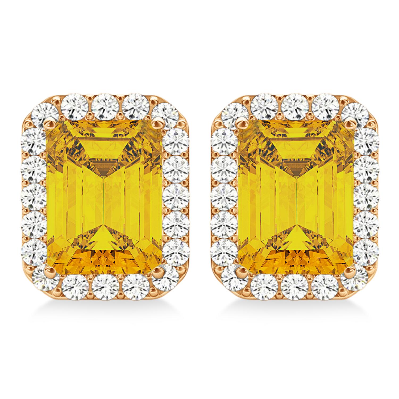Emerald Cut Yellow Sapphire & Diamond Halo Earrings 14k Rose Gold (2.60ct)