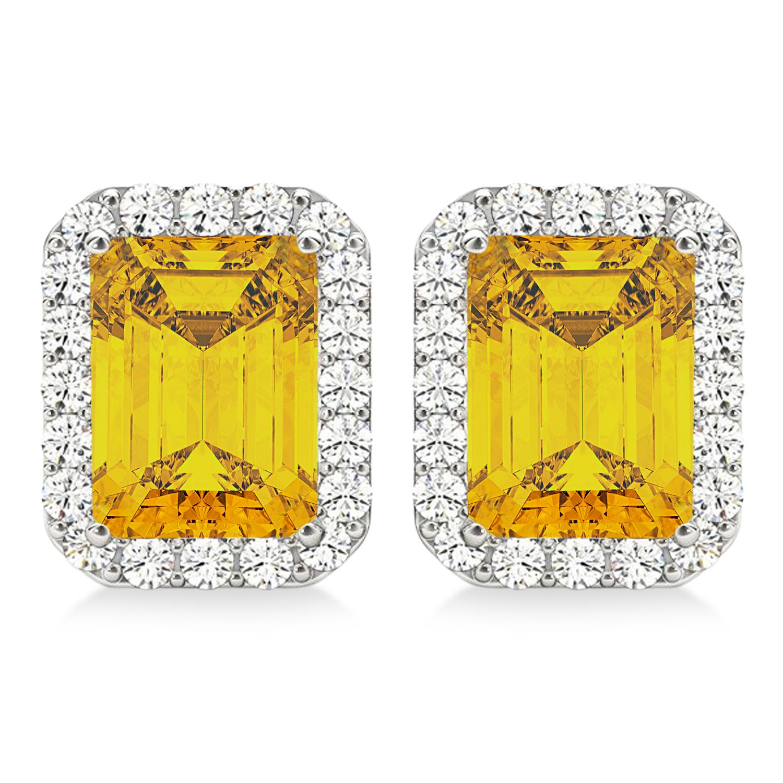Emerald Cut Yellow Sapphire & Diamond Halo Earrings 14k White Gold (2.60ct)
