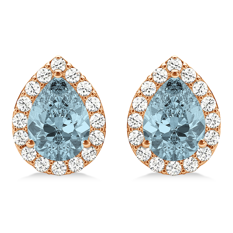 Teardrop Aquamarine & Diamond Halo Earrings 14k Rose Gold (1.54ct)