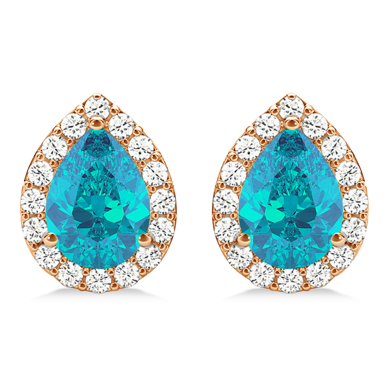 Teardrop Cut Blue & White Diamond Halo Earrings 14k Rose Gold (1.66ct)